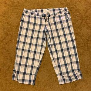 Bluenotes blue plaid long shorts size 3